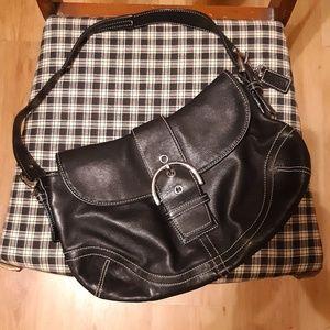 Coach Black Leather Hobo Soho Shoulder Bag